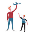 father and son play plane toy vector image vector image