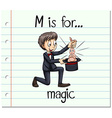 Flashcard alphabet M is for magic vector image vector image