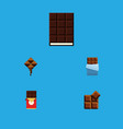 flat icon chocolate set of cocoa chocolate bar vector image vector image