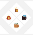 flat icon wallet set of saving billfold payment vector image