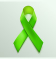 green ribbon sign isolated on white background vector image vector image