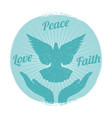 grunge dove peace flying from hands love freedom vector image