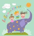 happy kids with big elephant meet summer vector image vector image
