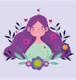 happy mothers day cute woman flowers in hair vector image