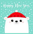 happy new year polar white bear cub face red hat vector image vector image