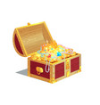 heavy wooden chest full of ancient gold treasures vector image vector image