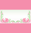 horizontal background with floral pattern in pink vector image