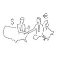 international deal usa with europe outline vector image vector image