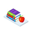 isometric icon books with apple vector image vector image