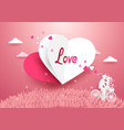love concept background white and red heart vector image