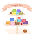 macaroons on a display stand vector image vector image