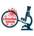 microscope with coronavirus vector image vector image