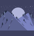 night mountain landscape flat style full moon vector image
