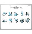 ocean elements monocolor pack vector image
