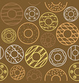 outline doughnut seamless pattern vector image