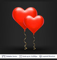 pair of 3d heart shaped air balloons vector image vector image