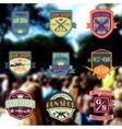 Pop art gun shop logotypes and badges set vector image vector image