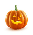 Realistic Halloween pumpkin with candle vector image