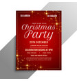 red christmas party flyer with sparkles vector image vector image