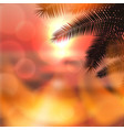 sea summer red sunset with palmtree leaves vector image vector image