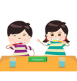 Siblings Brushing Their Teeth Together vector image