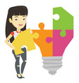student with idea lightbulb vector image vector image