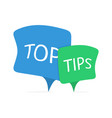 top tips blue and green speech bubbles vector image
