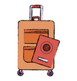 travel suitcase with passport vector image