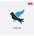 two color flying dove icon from animals concept vector image