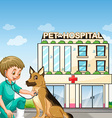 Vet and dog at the animal hospital vector image vector image