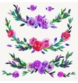 watercolor symmetrical floral elements isolated vector image