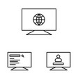 web operations on the monitors icon vector image