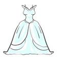 wedding dress on white background vector image
