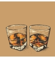 Whiskey in two glasses vector image vector image
