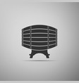 wooden barrel on rack icon on grey background vector image