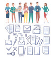 workers and documents papers set office vector image vector image
