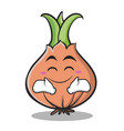 happy face onion character cartoon vector image