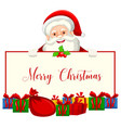 a santa holding christmas banner vector image