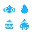 abstract blue water drop symbols set vector image vector image
