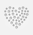 animals footprints in heart shape line vector image