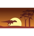 At sunset Mapusaurus scenery silhouettes vector image vector image