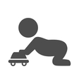 Baby plays with toy car pictogram flat icon vector image vector image