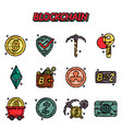 blockchain flat icons set vector image vector image