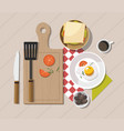 breakfast table with healthy tasty ingredients vector image