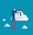 businessman on top of ladder putting file in vector image
