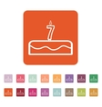 Cake with candles in the form of number 7 icon vector image vector image