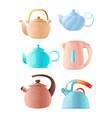 cartoon kettles big set various teapots vector image vector image