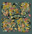 colorful set of hippie doodles designs vector image