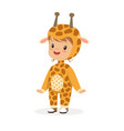 cute happy boy dressed as a giraffe kids carnival vector image vector image