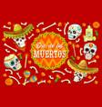 dia de los muertos sugar skulls marigold flowers vector image vector image